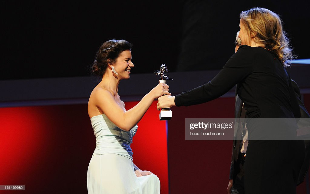 Ada Condeescu and <a gi-track='captionPersonalityLinkClicked' href=/galleries/search?phrase=Julie+Delpy&family=editorial&specificpeople=201914 ng-click='$event.stopPropagation()'>Julie Delpy</a> onstage at the Shooting Stars Stage Presentation during the 63rd Berlinale International Film Festival at the Berlinale Palast on February 11, 2013 in Berlin, Germany.