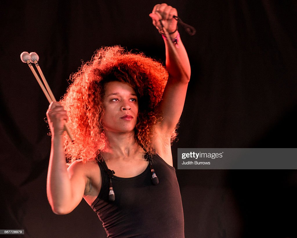 Aïda Diop of Orchestre Tout Puissant Marcel Duchamp performs at the Womad festival at Charlton Park in Wiltshire July 2015