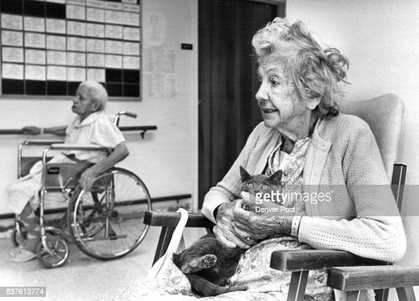 Ada Finegan at the Bear Creek Nursing Home w/Blue Belle Credit The Denver Post