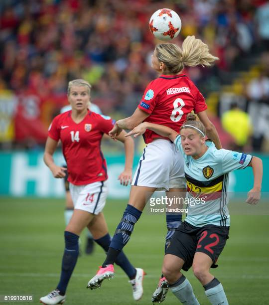Ada Hegerberg Andrine Hegerberg of Norway Laura Deloose of Belgium during the UEFA Womens Euro 2017 between Norway v Belgium at Rat Verlegh Stadion...