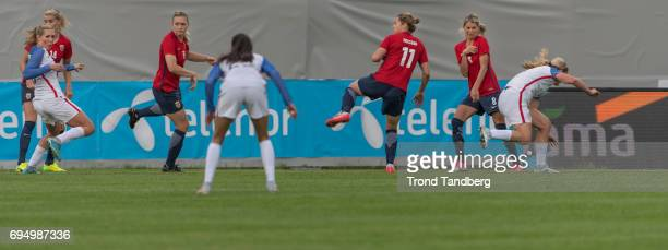 Ada Hegerberg Ingvild Isaksen Nora Holstad Berge Andrine Hegerberg of Norway during International Friendly between Norway Woman v USA Women at...