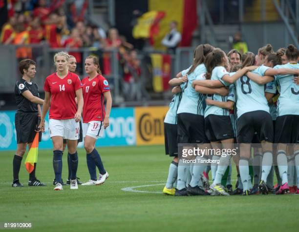 Ada Hegerberg Kristine Minde of Norway with celebrating Belgium after the UEFA Womens Euro 2017 between Norway v Belgium at Rat Verlegh Stadion on...