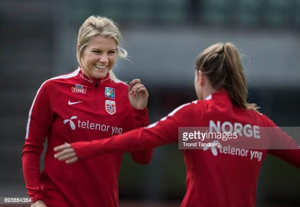 Ada Hegerberg Maren Mjelde during Norwegian Men Training Session at Ullevaal Stadion on June 6 2017 in Oslo Norway