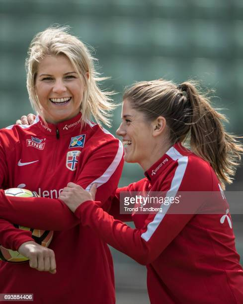 Ada Hegerberg Maren Mjelde during Norwegian Men Training Session at Ullevaal Stadion on June 6 2017 in Oslo Norway