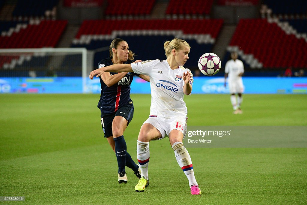 Ada Hegerberg of Lyon and Jessica Houara DHommeaux of PSG during the Uefa Women's Champions League match, semi-final, second leg, between Paris Saint Germain and Olympique Lyonnais at Parc des Princes on May 2, 2016 in Paris, France.