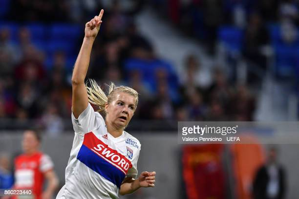 Ada Hegerberg of Lyon celebrates a goal during the UEFA Women's Champions League Round of 32 Second Leg match between Lyon and Medyk Konin at...