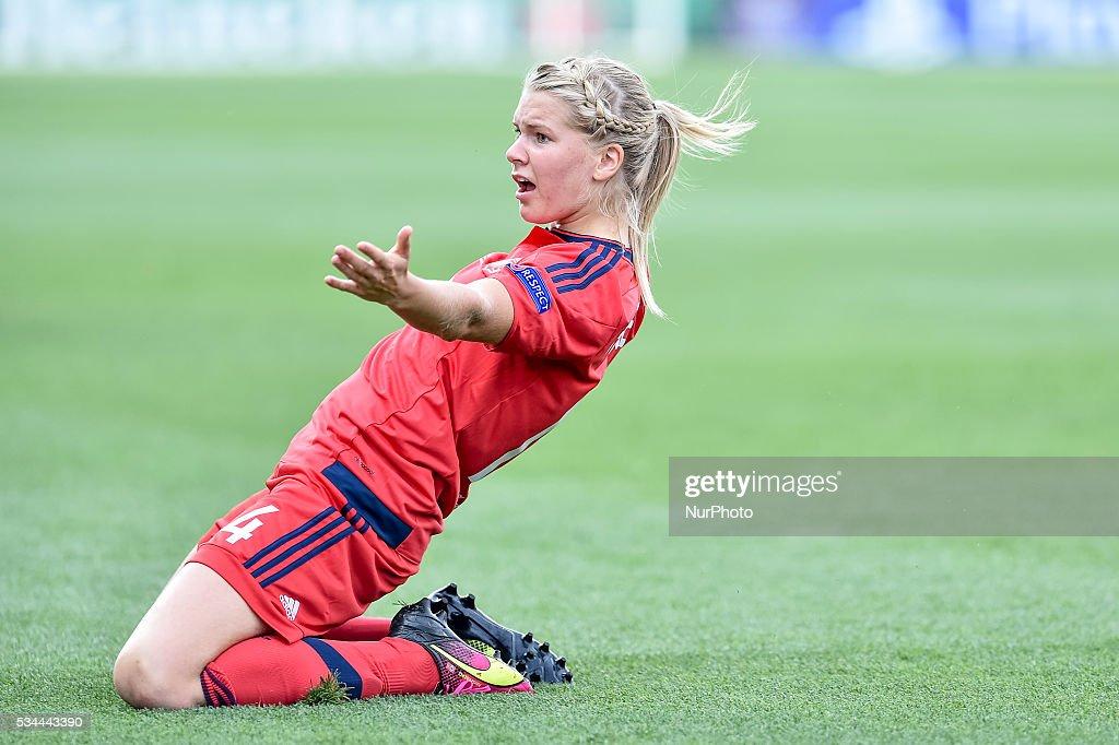 Ada Hegerberg of Lyon celebrates scoring her goal during the UEFA ...