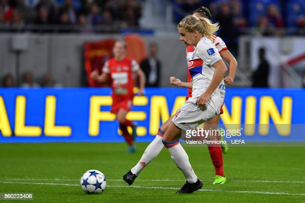 Ada Hegerberg of Lyon scores a goal during the UEFA Women's Champions League Round of 32 Second Leg match between Lyon and Medyk Konin at Groupama...