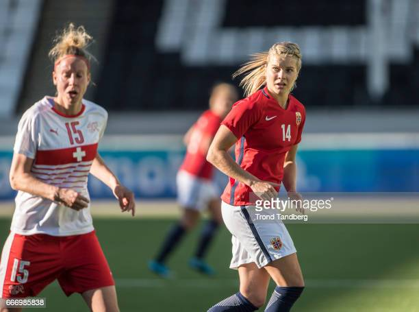 Ada Hegerberg of Norway Caroline Abbe of Swiss during International Friendly match between Norway v Switzerland at Skagerak Arena on April 10 2017 in...
