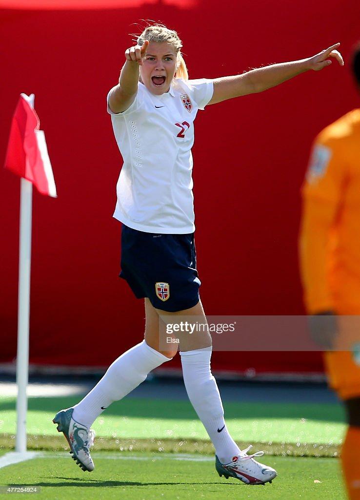 Ada Hegerberg #21 of Norway celebrates her goal in the first half ...