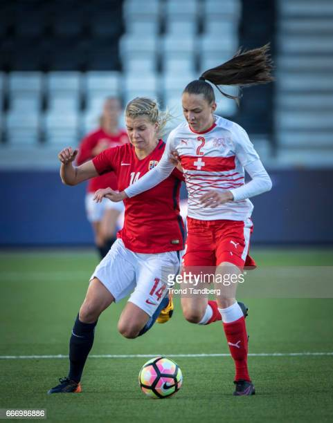 Ada Hegerberg of Norway Jana Brunner of Swiss during International Friendly match between Norway v Switzerland at Skagerak Arena on April 10 2017 in...