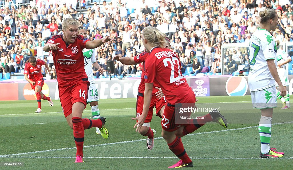 <a gi-track='captionPersonalityLinkClicked' href=/galleries/search?phrase=Ada+Hegerberg&family=editorial&specificpeople=9647012 ng-click='$event.stopPropagation()'>Ada Hegerberg</a> (L) of Olympique Lyonnais celebrates after scoring the opening goal during the UEFA Women's Champions League Final VfL Wolfsburg and Olympique Lyonnais between at Mario Rigamonti Stadium on May 26, 2016 in Brescia, Italy.