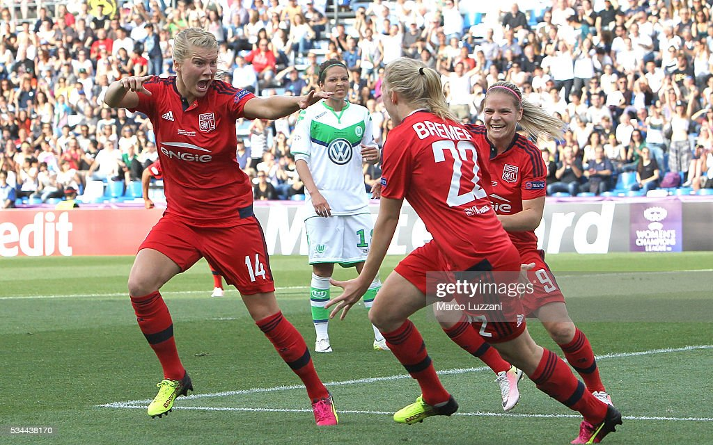 <a gi-track='captionPersonalityLinkClicked' href=/galleries/search?phrase=Ada+Hegerberg&family=editorial&specificpeople=9647012 ng-click='$event.stopPropagation()'>Ada Hegerberg</a> (L) of Olympique Lyonnais celebrates after scoring the opening goal during the UEFA Women's Champions League Final VfL Wolfsburg and Olympique Lyonnais between at Mapei Stadium - Citta' del Tricolor on May 26, 2016 in Reggio nell'Emilia, Italy.