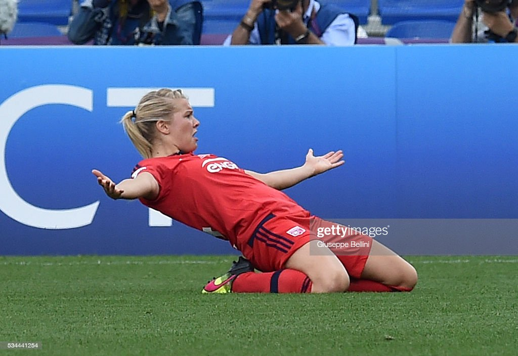Ada Hegerberg of VfL Wolfsburg celebrates after scoring the opening goal during UEFA Women's Champions League Final between VfL Wolfsburg v Olympique Lyonnais at Mapei Stadium on May 26, 2016 in Reggio Nell'Emilia, Italy.