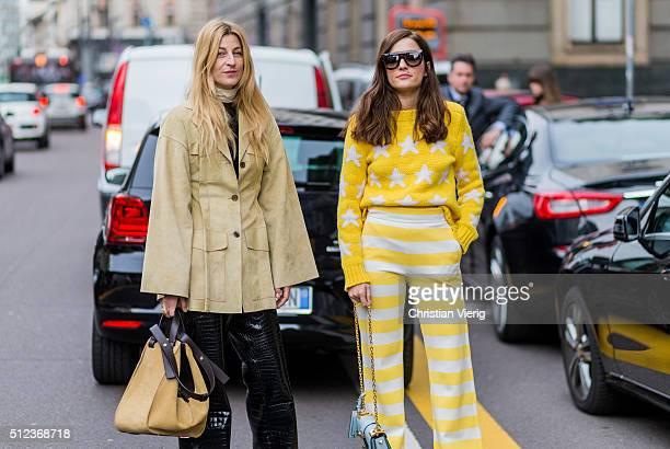 Ada Kokosar and Eleonora Carisi wearing Max Mara yellow sweater and yellow white stripped pants seen outside Max Mara during Milan Fashion Week...