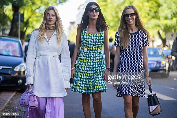 Ada Kokosar Giovanna Battaglia and guest during Milan Fashion Week Spring/Summer 16 on September 24 2015 in Milan Italy