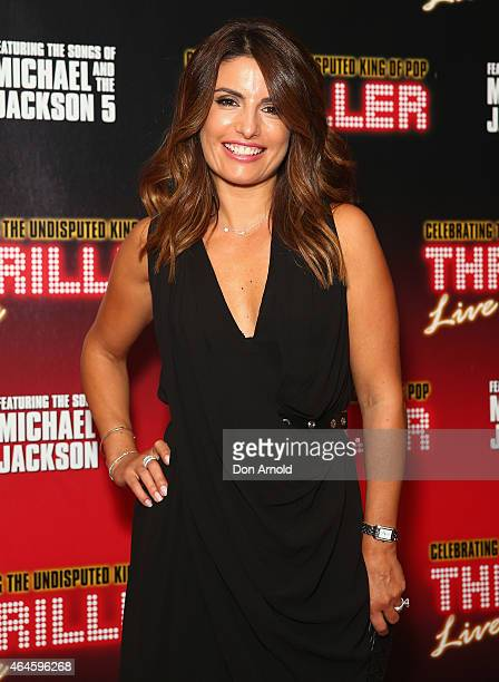 Ada Nicodemou arrives at the red carpet for 'Thriller Live' at the Sydney Lyric Theatre on February 27 2015 in Sydney Australia