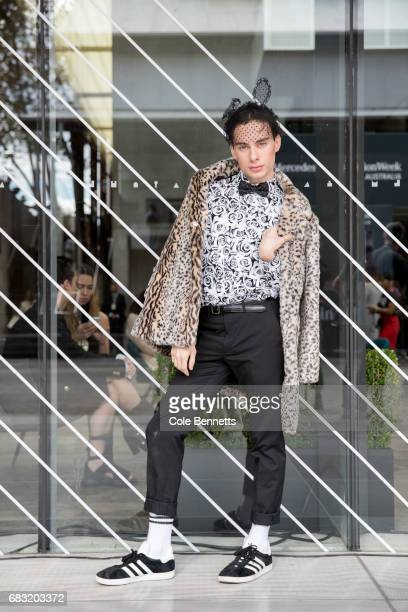 Adaam Braan wearing Boo Hoo jacket during MercedesBenz Fashion Week Resort 18 Collections at Carriageworks on May 15 2017 in Sydney Australia