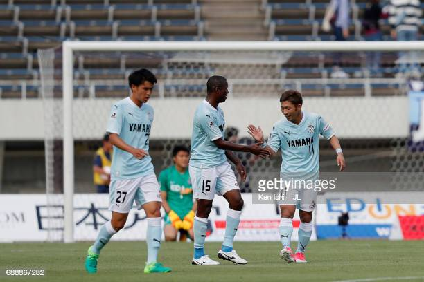 Adailton and Takuya Matsuura of Jubilo Iwata react after the scoreless draw in the JLeague J1 match between Sanfrecce Hiroshima and Jubilo Iwata at...