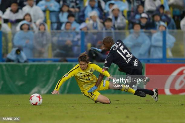 Adailton of Jubilo Iwata and Junya Ito of Kashiwa Reysol compete for the ball during the JLeague J1 match between Kashiwa Reysol and Jubilo Iwata at...