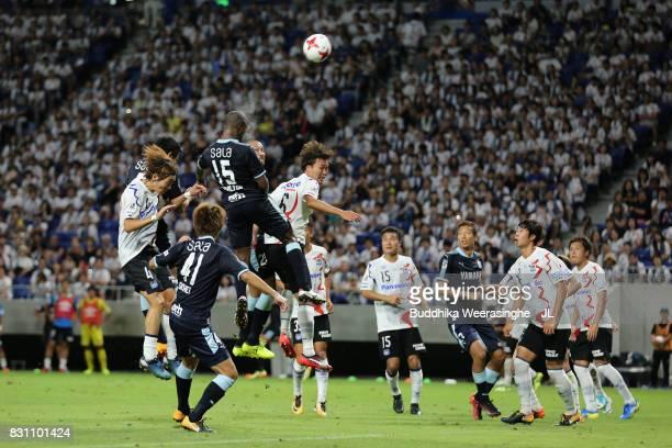 Adailton of Jubilo Iwata and Kim Jungya of Gamba Osaka compete for the ball during the JLeague J1 match between Gamba Osaka and Jubilo Iwata at Suita...