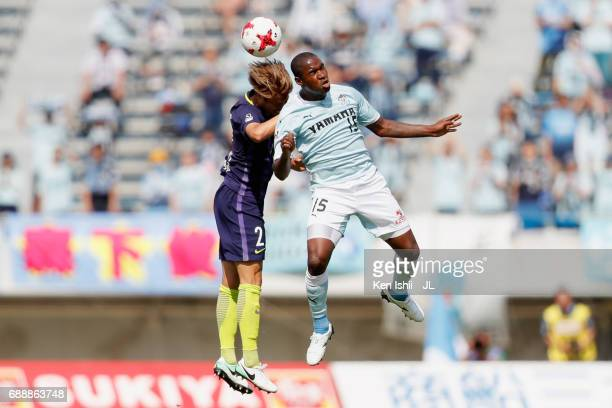 Adailton of Jubilo Iwata and Yuki Nogami of Sanfrecce Hiroshima compete for the ball during the JLeague J1 match between Sanfrecce Hiroshima and...
