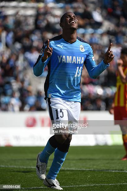 Adailton of Jubilo Iwata celebrates his 1st goal of J league during the JLeague second division match between Jubilo Iwata and Giravanz Kitakyushu at...