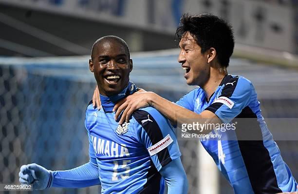 Adailton of Jubilo Iwata celebrates his opener with Yuki Kobayashi of Jubilo Iwata during the JLeague second division match between Jubilo Iwata and...