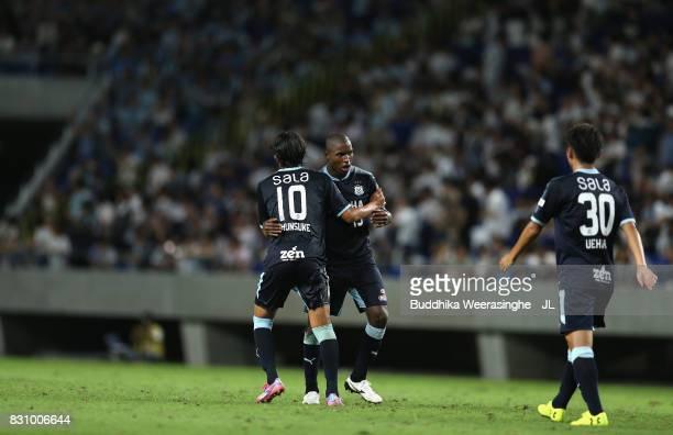 Adailton of Jubilo Iwata celebrates scoring his side's second goal with Shunsuke Nakamura of Jubilo Iwata during the JLeague J1 match between Gamba...