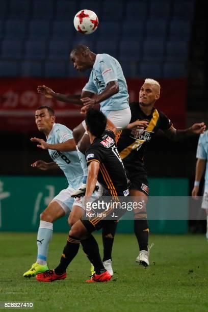 Adailton of Jubilo Iwata heads the ball during the JLeague J1 match between Vegalta Sendai and Jubilo Iwata at Yurtec Stadium Sendai on August 9 2017...