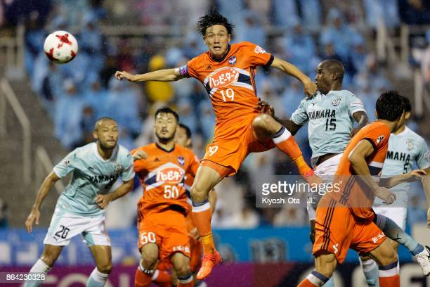 Adailton of Jubilo Iwata heads the ball to score his side's second goal during the JLeague J1 match between Jubilo Iwata and Albirex Niigata at...