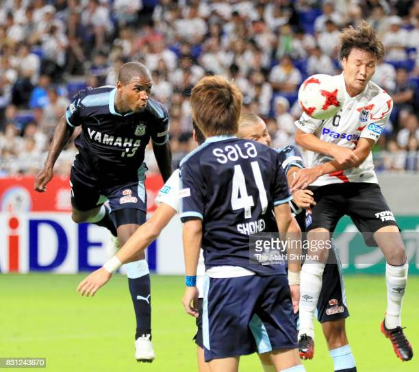 Adailton of Jubilo Iwata heads to score his side's second goal during the JLeague J1 match between Gamba Osaka and Jubilo Iwata at Suita City...