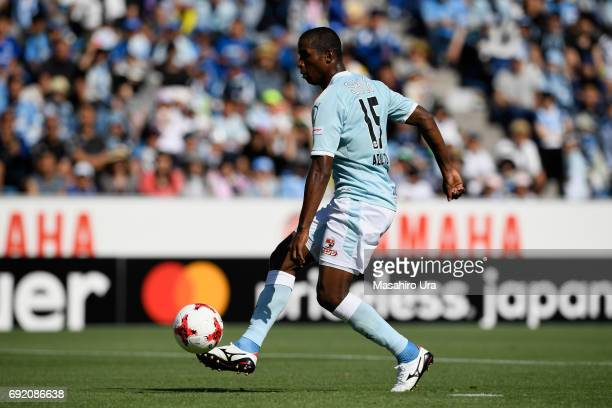 Adailton of Jubilo Iwata scores the opening goal during the JLeague J1 match between Jubilo Iwata and Gamba Osaka at Yamaha Stadium on June 4 2017 in...