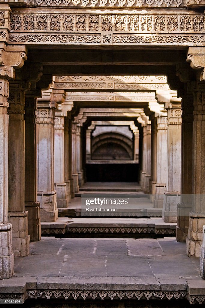 Adalaj Step well - Corridors  : Stock Photo
