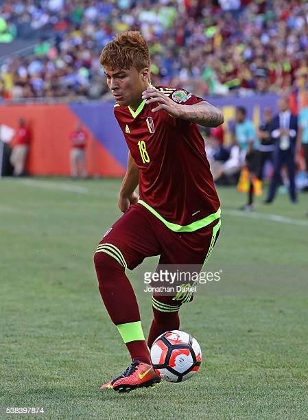 Adalberto Penaranda of Venezuela controls the ball against Jamaica during a match in the 2016 Copa America Centenario at Soldier Field on June 5 2016...