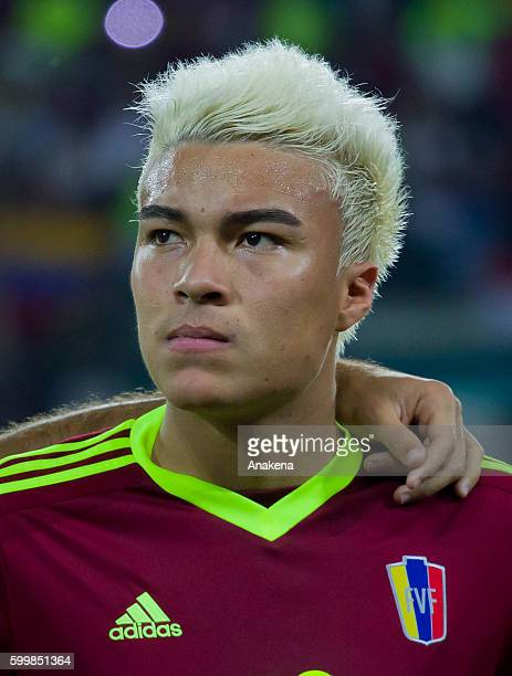 Adalberto Penaranda of Venezuela looks on prior a match between Venezuela and Argentina as part of FIFA 2018 World Cup Qualifiers at Metropolitano...