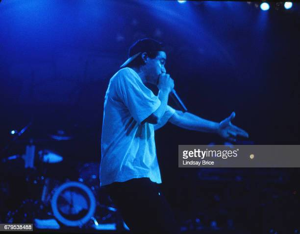 Adam 'AdRock' Horovitz performs with Beastie Boys at the Universal Amphitheatre on November 24 1992 in Los Angeles California