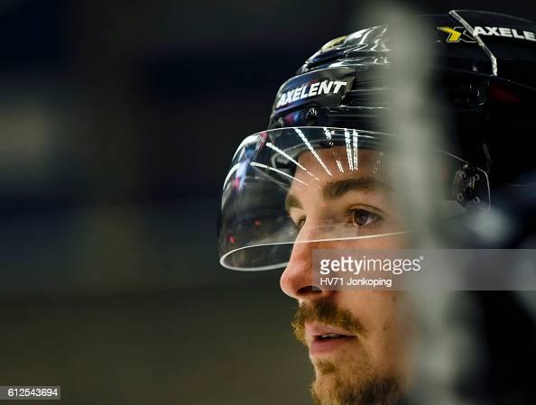 Adam Almquist of HV71 Jonkoping looks on during the Champions Hockey League Round of 32 match between HV71 Jonkoping and Lukko Rauma at Kinnarps...