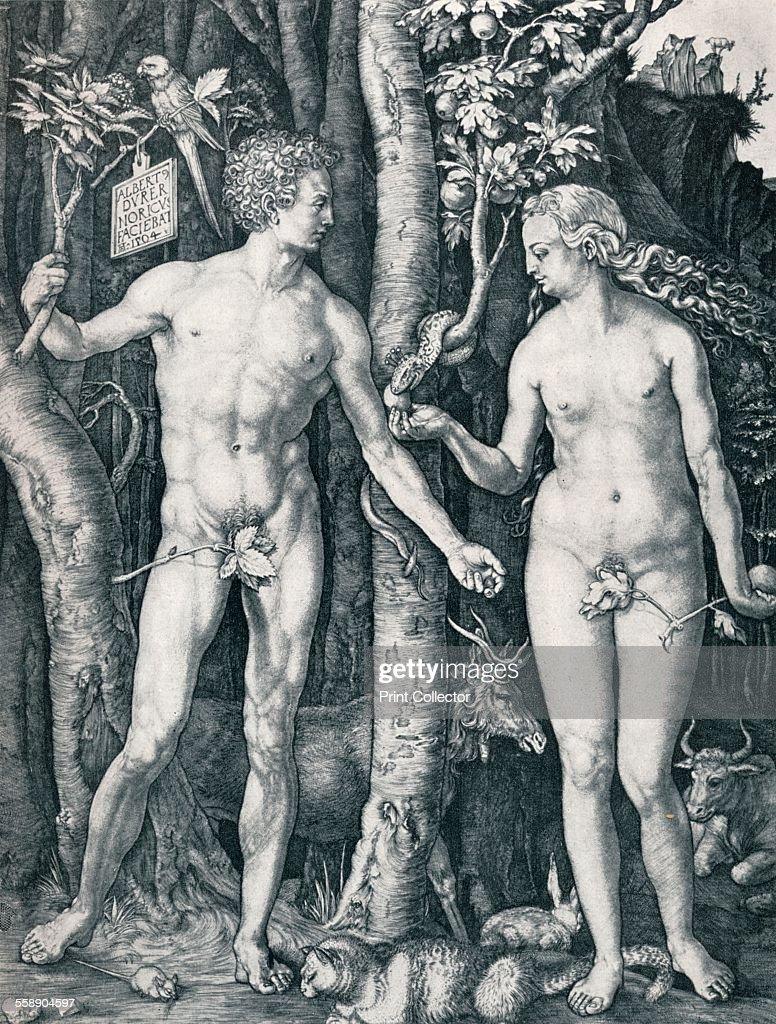 '<a gi-track='captionPersonalityLinkClicked' href=/galleries/search?phrase=Adam+-+Biblisk+person&family=editorial&specificpeople=77730 ng-click='$event.stopPropagation()'>Adam</a> and Eve', 1504 (1906). From Durer Des Meisters Gemalde Kupferstiche und Holzschnitte in 471 Abbildungen [Stuttgart und Leipzig, Deutsch Verlags-Ansalt, 1906].