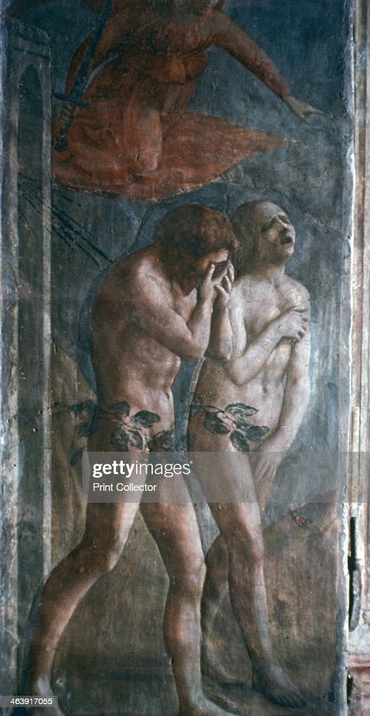 '<a gi-track='captionPersonalityLinkClicked' href=/galleries/search?phrase=Adam+-+Biblisk+person&family=editorial&specificpeople=77730 ng-click='$event.stopPropagation()'>Adam</a> and Eve banished from Paradise', (detail, pre-restoration), c1427. Found in the Brancacci Chapel, Santa Maria del Carmine, Florence, Italy.