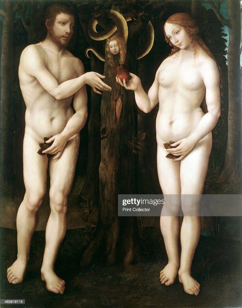 '<a gi-track='captionPersonalityLinkClicked' href=/galleries/search?phrase=Adam+-+Biblisk+person&family=editorial&specificpeople=77730 ng-click='$event.stopPropagation()'>Adam</a> and Eve' ('The Temptation of <a gi-track='captionPersonalityLinkClicked' href=/galleries/search?phrase=Adam+-+Biblisk+person&family=editorial&specificpeople=77730 ng-click='$event.stopPropagation()'>Adam</a>'), c1520. Eve offers <a gi-track='captionPersonalityLinkClicked' href=/galleries/search?phrase=Adam+-+Biblisk+person&family=editorial&specificpeople=77730 ng-click='$event.stopPropagation()'>Adam</a> the apple of the Tree of Knowledge while the serpent, coiled round a tree, looks on. <a gi-track='captionPersonalityLinkClicked' href=/galleries/search?phrase=Adam+-+Biblisk+person&family=editorial&specificpeople=77730 ng-click='$event.stopPropagation()'>Adam</a> and Eve are naked but each clutches a fig leaf.
