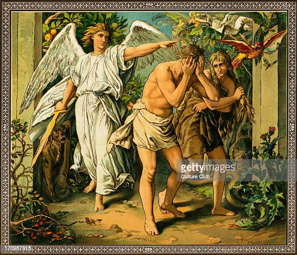 Adam and Eve cast out of Paradise after eating from the Tree of knowledge in the Garden of Eden From Old Testament stories published by Society for...