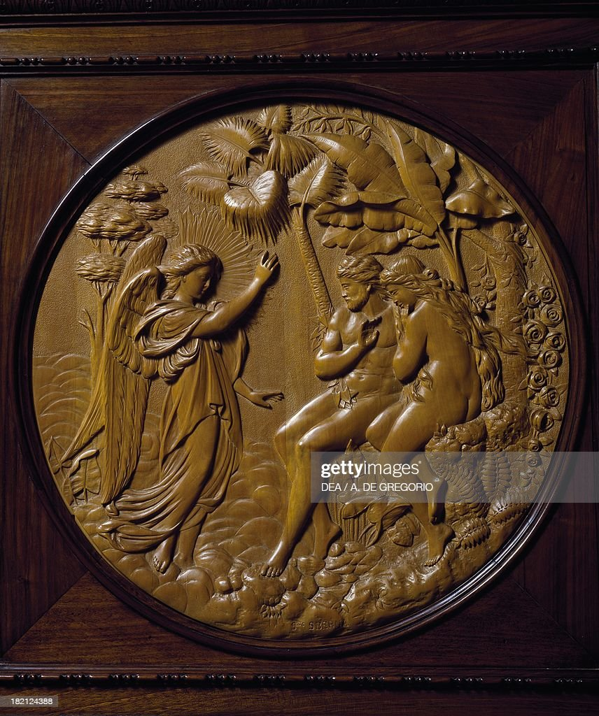 Adam and Eve expelled from Paradise wooden relief Italy