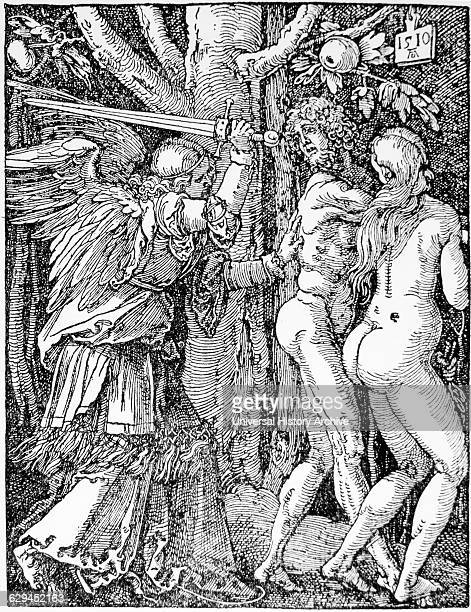 Adam and Eve 'Expulsion from Paradise' Woodcut by Albrecht Durer 1510