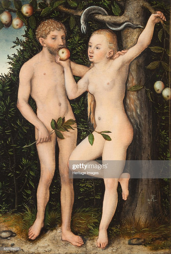 Adam and Eve. Found in the collection of National Gallery, Prague.