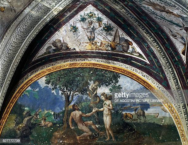 Adam and Eve fresco by an unknown 16thcentury artist lunette from the Hall of Creation Besta Palace in Teglio Italy 16th century Teglio Antiquarium...