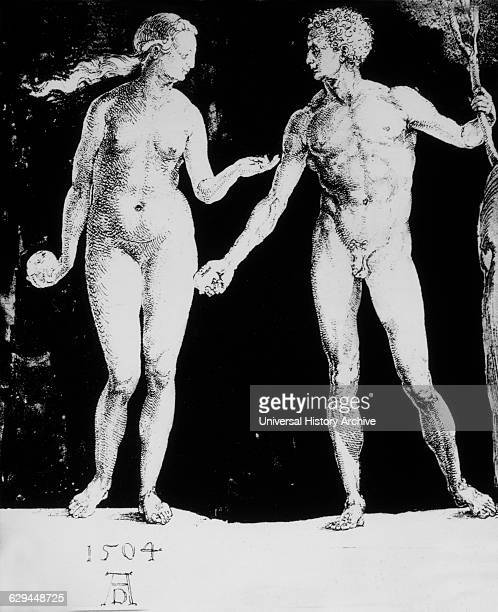 Adam and Eve Pen Drawing by Albrecht Durer 1504