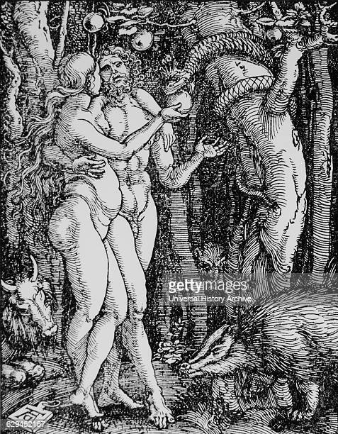 Adam and Eve 'The Fall of Man' Engraving by Albrecht Durer 1510
