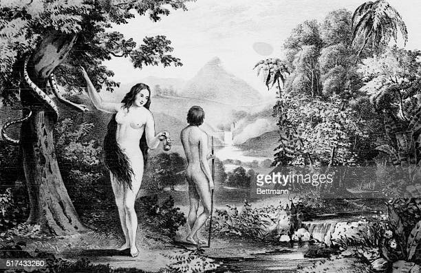 Adam and Eve who are depicted here in the Garden of Eden are talked about in the book of Genesis which depicts the story of creation in the Bible