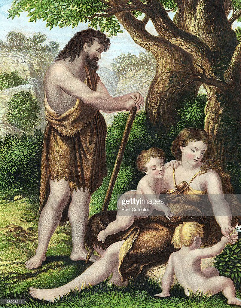 adam and eve with their sons cain and abel resting in the